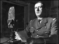 General Charles de Gaulle broadcasting on October 30, 1941, from a BBC studio to his fellow countrymen in France